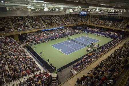 Feb 11, 2018; Asheville, NC, USA; General view of US Cellular Arena during the Fed Cup match between Venus Williams (USA)/Serena Williams (USA) and Lesley Kerkhove (NED) and Demi Schuurs (NED) at U.S. Cellular Center. Mandatory Credit: Susan Mullane-USA TODAY Sports