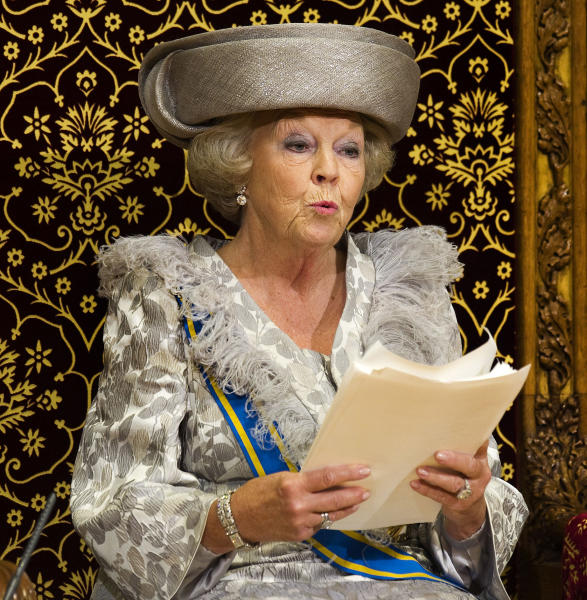 FILE - In this Sept. 20, 2011 file photo, Dutch Queen Beatrix formally opens the new parliamentary year with a speech in The Hague, Netherlands, Tuesday, Sept. 20, 2011. Queen Beatrix announced she is to abdicate in favor of Crown Prince Willem Alexander during a nationally televised speech Monday, Jan. 28, 2013. Beatrix, who turns 75 on Thursday, has ruled the nation of 16 million for more than 32 years and would be succeeded by her eldest son, Crown Prince Willem-Alexander. (AP Photo/Toussaint Kluiters, Pool, File)