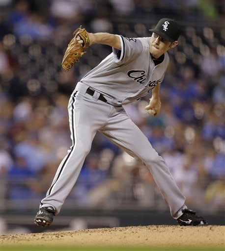 Chicago White Sox starting pitcher Chris Sale throws during the second inning of a baseball game against the Kansas City Royals Wednesday, Sept. 19, 2012, in Kansas City, Mo. (AP Photo/Charlie Riedel)