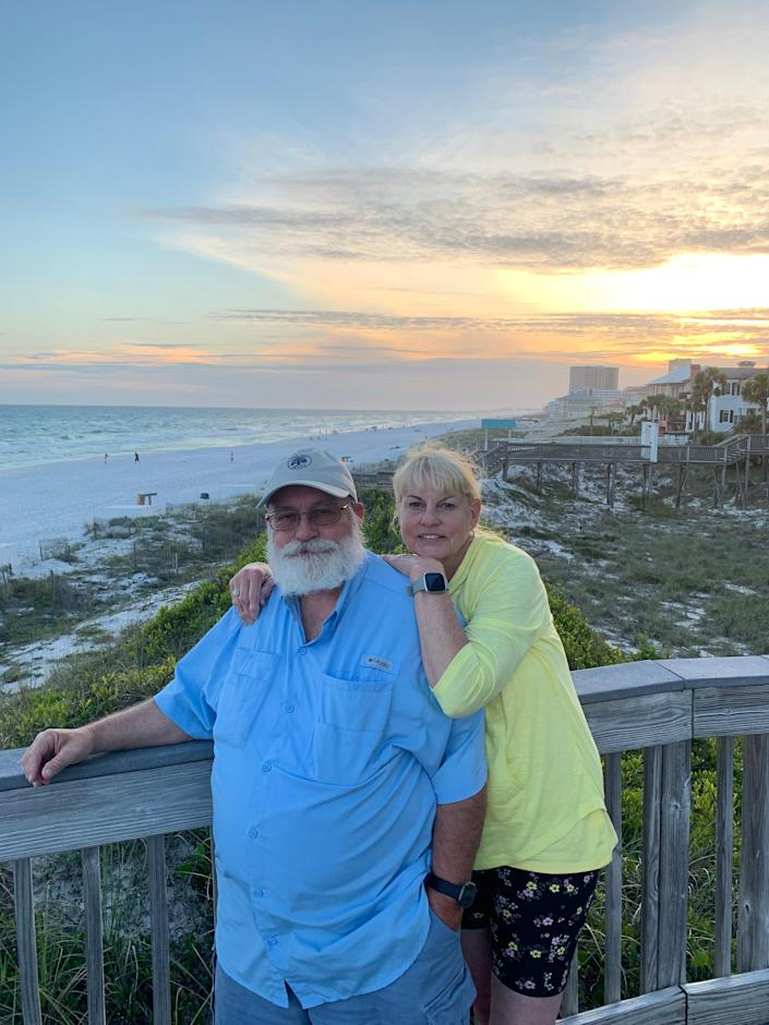 Bobby Fentress received an experimental cancer vaccine at Sarah Cannon Research Institute in Nashville. He hopes that the vaccine, made with mRNA, will prevent his melanoma from recurring. He and his wife Jennie recently vacationed in Destin, Florida.