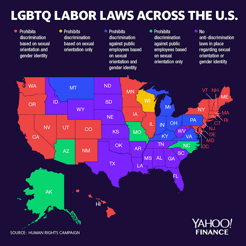 A majority of states have some kind of LGBTQ labor protection laws in place. (Graphic: David Foster/Yahoo Finance)
