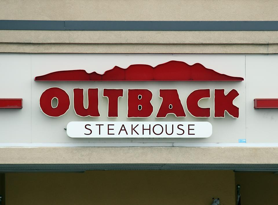 WESTBURY, NEW YORK - MARCH 20: A general view of an Outback Steakhouse sign as photographed on March 20, 2020 in Westbury, New York. (Photo by Bruce Bennett/Getty Images)