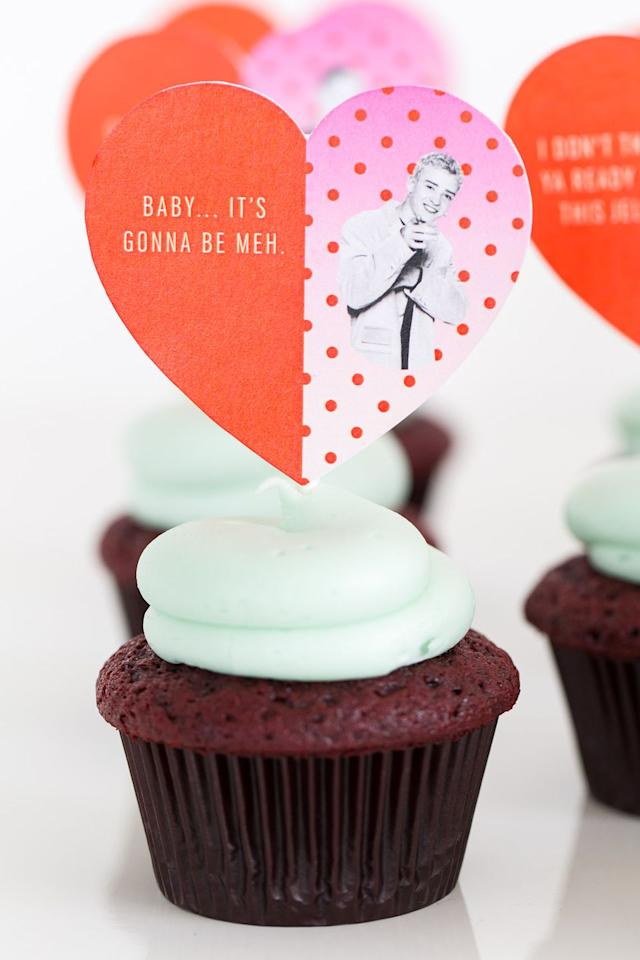 "<p>The best Valentine's Day present ever? JT on top of a cupcake. Always.</p><p>Get the tutorial at <a rel=""nofollow"" href=""https://sugarandcloth.com/diy-pop-culture-song-lyric-cupcake-toppers/"">Sugar & Cloth</a>.</p>"
