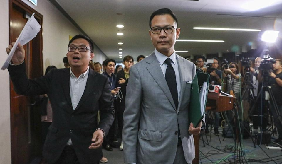 Pan-democrat lawmaker Dennis Kwok (right) was singled out for allowing lengthy opposition speeches while presiding over the House Committee. Photo: Dickson Lee