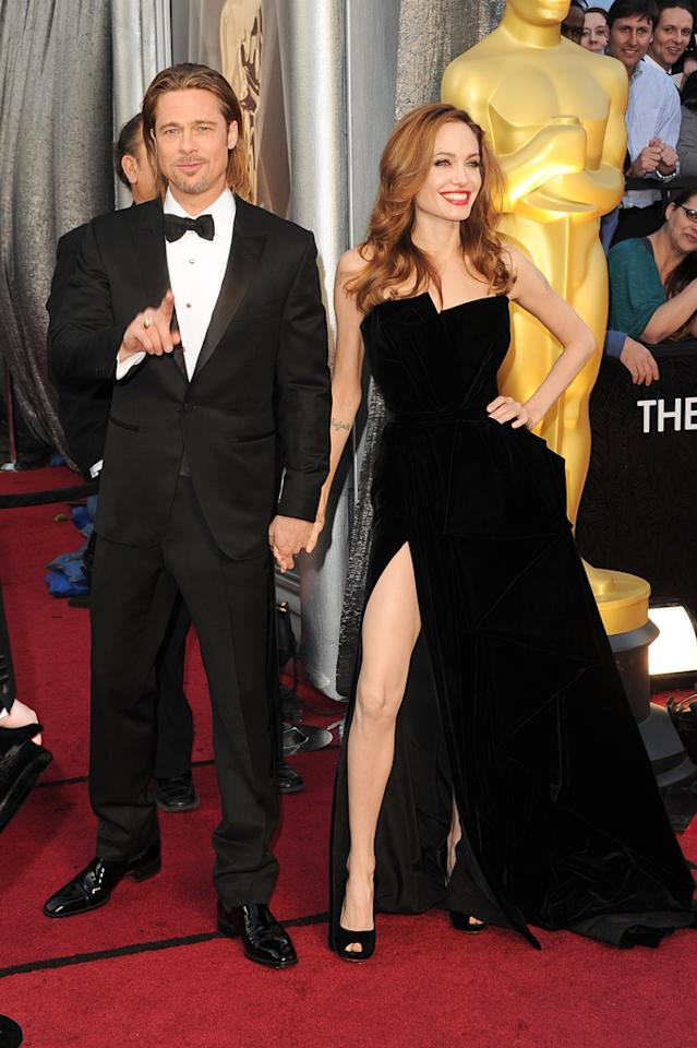 Brad Pitt and Angelina Jolie arrive at the 84th Annual Academy Awards in Hollywood, CA.