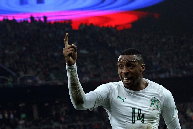A file photo of Ivory Coast forward Jonathan Kodjia, who scored in a 4-1 victory over Zambia Wednesday in a 2019 Africa Cup of Nations warm-up match