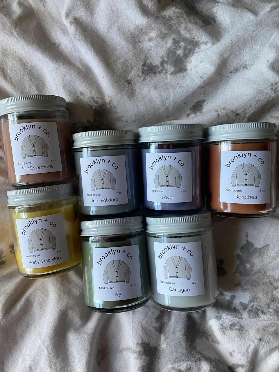 <p>The <span>Taylor Swift Inspired Candles</span> ($12 each, $70 for all seven) is such a thoughtful gift for the candle lover. Into folklore smells like chai latte, for evermore smells like rosewater, lover smells like love spell, ivy smells like balsam fir, cardigan smells like clean cotton, dorothea smells like oatmeal and honey, and betty's garden smells like honeysuckle.</p>