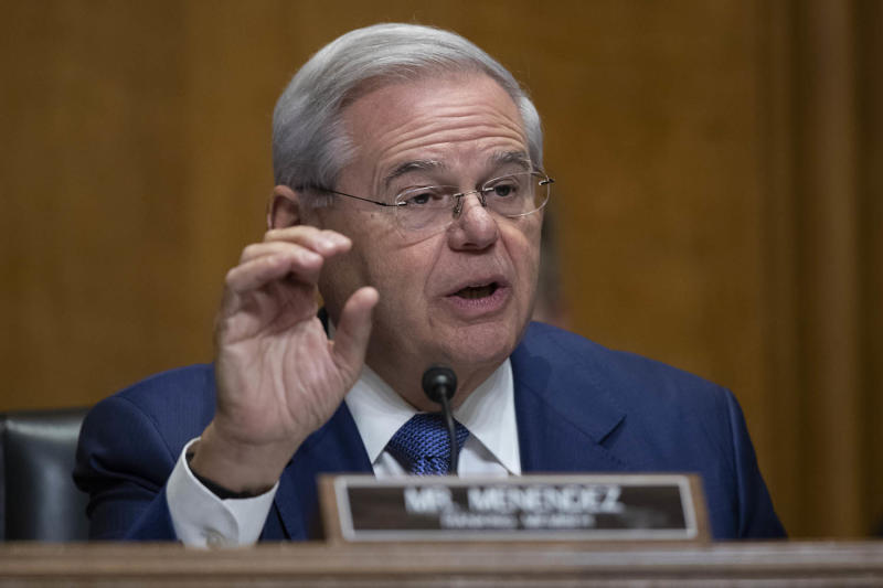 Ranking Member Sen. Bob Menendez, D-N.J., speaks during a hearing of the Senate Foreign Relations Committee about the future of U.S. policy towards Russia, Tuesday, Dec. 3, 2019 in Washington, on Capitol Hill. (AP Photo/Alex Brandon)