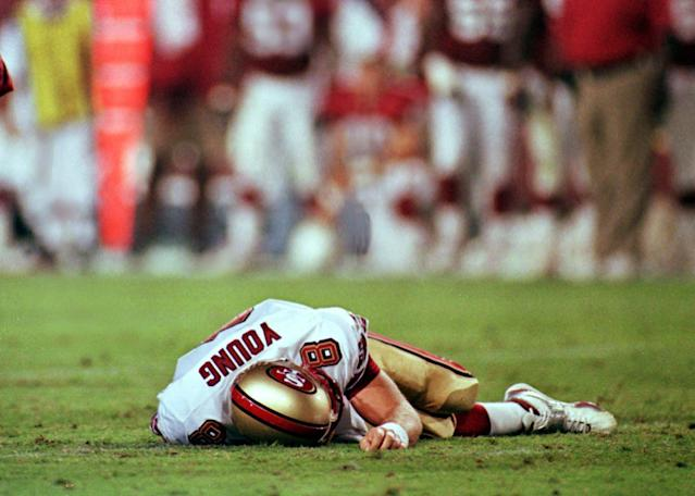 Steve Young's NFL career ended after suffering a concussion against the Arizona Cardinals in 1999. (AP)