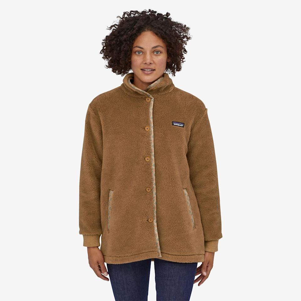 """<p>Patagonia is known for their fair-trade business practices. Purchasing apparel from the company—we recommend this warm wool polyester blend fleece—ensures you are contributing to a company that guarantees ethical material sorting, fair wages, and a safe working environment for all of its employees.</p> <p><strong><em>Shop Now: </em></strong><em>Patagona Woolyester Pile Coat, $199, </em><a href=""""https://www.patagonia.com/product/womens-woolyester-pile-fleece-coat/22915.html"""" rel=""""nofollow noopener"""" target=""""_blank"""" data-ylk=""""slk:patagonia.com"""" class=""""link rapid-noclick-resp""""><em>patagonia.com</em></a><em>.</em></p>"""