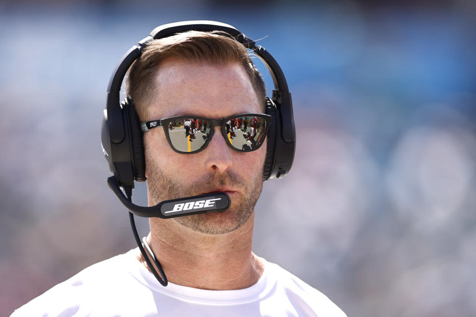 JACKSONVILLE, FLORIDA - SEPTEMBER 26: Head coach Kliff Kingsbury of the Arizona Cardinals looks on during the second quarter in the game against the Jacksonville Jaguars at TIAA Bank Field on September 26, 2021 in Jacksonville, Florida. (Photo by Michael Reaves/Getty Images)