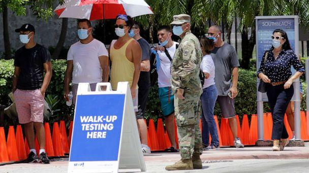 PHOTO: People wait in line at a walk-up testing site for COVID-19 during the coronavirus pandemic, June 30, 2020, in Miami Beach, Fla. (Lynne Sladky/AP)