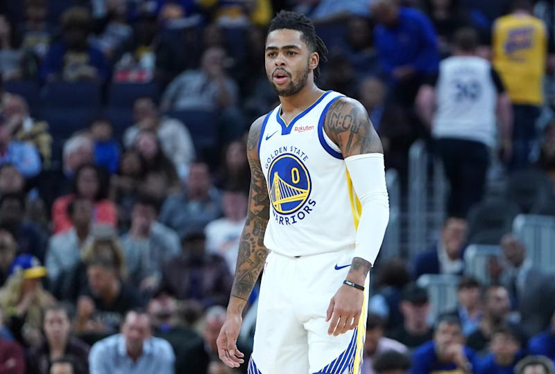 D'Angelo Russell #0 of the Golden State Warriors