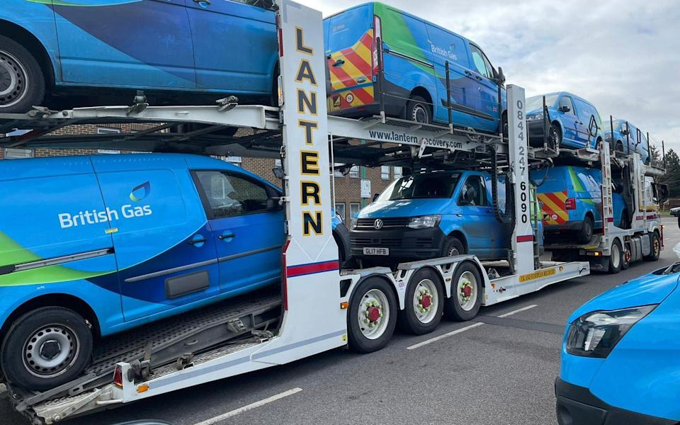 An image of British Gas vans tweeted by the GMB union