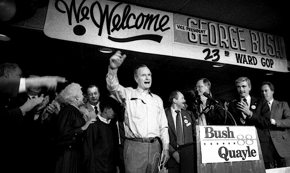 Vice President Bush holds a campaign rally in Chicago's 23rd Ward on Oct. 28, 1988.