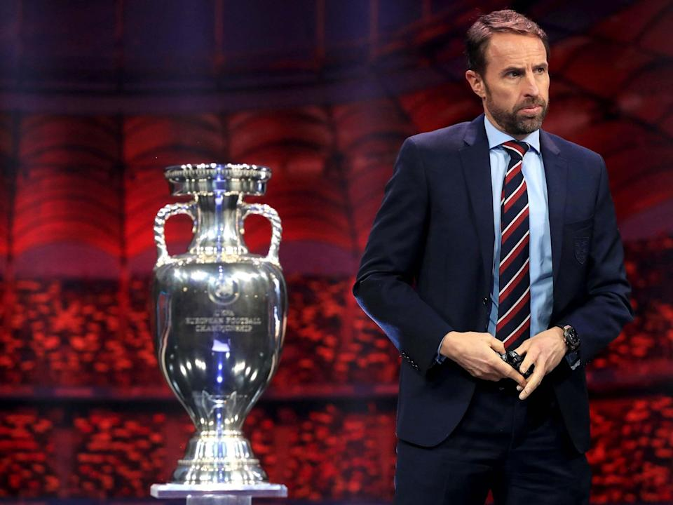 England manager Gareth Southgate with the European Championship trophy (PA)