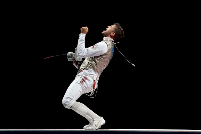 <p>CHIBA, JAPAN - JULY 26: Alexander Choupenitch of Team Czech Republic celebrates winning the Men's Foil Individual Fencing Bronze Medal Bout against Takahiro Shikine of Team Japan on day three of the Tokyo 2020 Olympic Games at Makuhari Messe on July 26, 2021 in Chiba, Japan. (Photo by Julian Finney/Getty Images)</p>