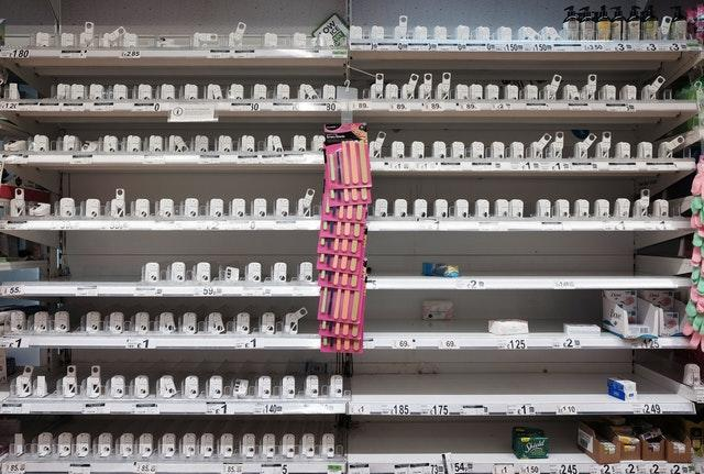 Empty shelves where hand sanitiser is usually stocked inside a London supermarket