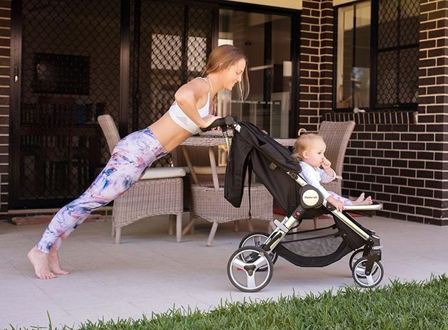 The super-fit mum advises using kids' toys and equipment as sports equipment. Image: Caters