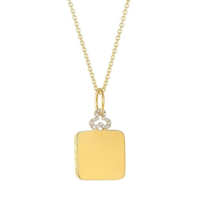 """<p><strong>Devon Woodhill</strong></p><p>devonwoodhill.com</p><p><strong>$2100.00</strong></p><p><a href=""""https://devonwoodhill.com/collections/pillow-lockets/products/small-diamond-trefoil-pillow-locket-in-18k-gold?variant=37408149864630"""" rel=""""nofollow noopener"""" target=""""_blank"""" data-ylk=""""slk:Shop Now"""" class=""""link rapid-noclick-resp"""">Shop Now</a></p><p>The perfect keepsake to keep you close to her heart at all times.</p>"""