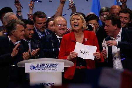 Marine Le Pen, French National Front (FN) political party leader and candidate for French 2017 presidential election, attends a campaign rally in Paris