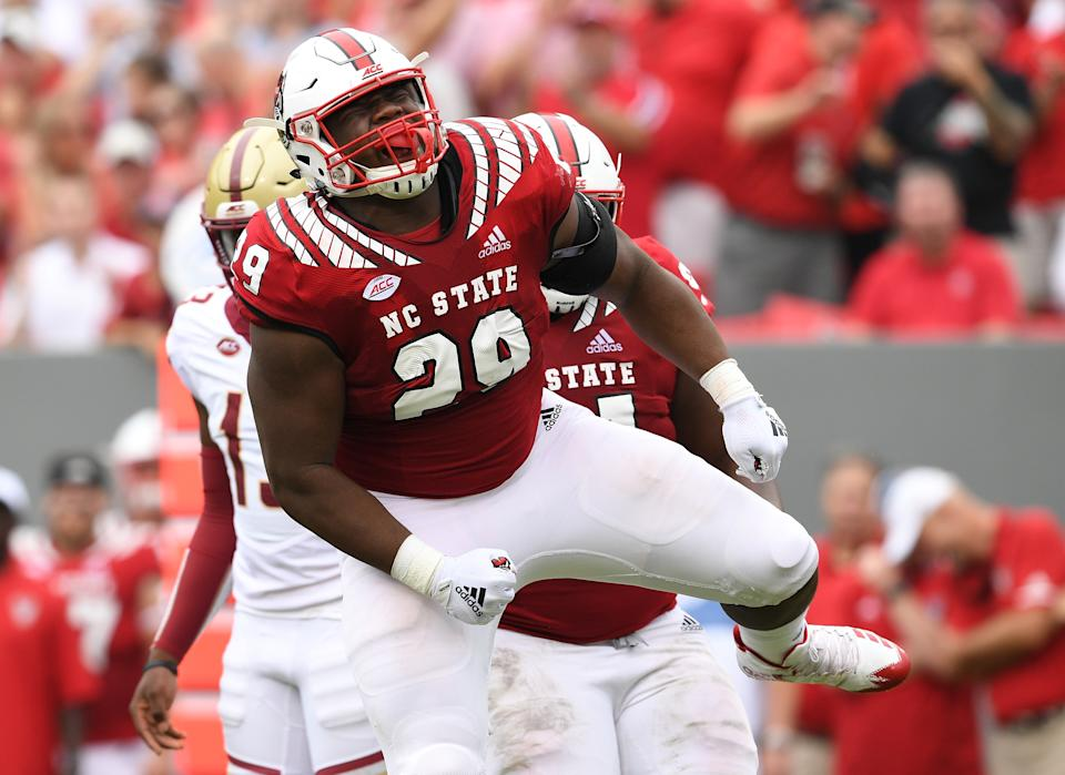 North Carolina State NT Alim McNeill (No. 29) showed steady improvement over his career and has surprising athhleticism. (Photo by Grant Halverson/Getty Images)