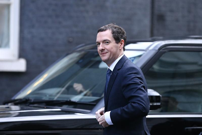 Britain's Chancellor of the Exchequer George Osborne arrives at Downing Street in London on February 20, 2016, ahead of an expected meeting of the cabinet following Prime Minister David Cameron's return from EU negotiations in Brussels