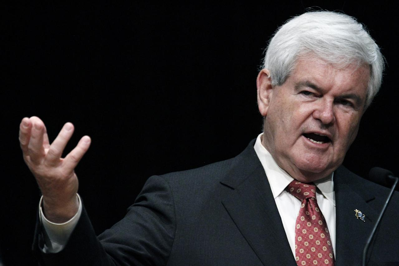 Republican presidential candidate, former House Speaker Newt Gingrich speaks at the Gulf Coast Energy Summit in Biloxi, Miss., March 12, 2012. (AP Photo/Rogelio V. Solis)