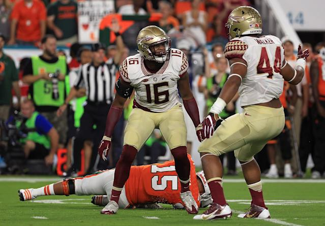 "<a class=""link rapid-noclick-resp"" href=""/ncaaf/players/242511/"" data-ylk=""slk:Jacob Pugh"">Jacob Pugh</a> (16) says FSU's 2017 season has been a ""nightmare."" (Photo by Mike Ehrmann/Getty Images)"