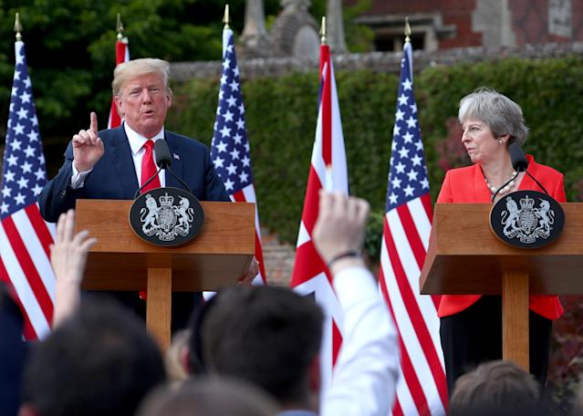 "<span class=""s1"">President Trump and British Prime Minister Theresa May hold a joint news conference on Friday. (Photo: Hannah McKay/Reuters)</span>"