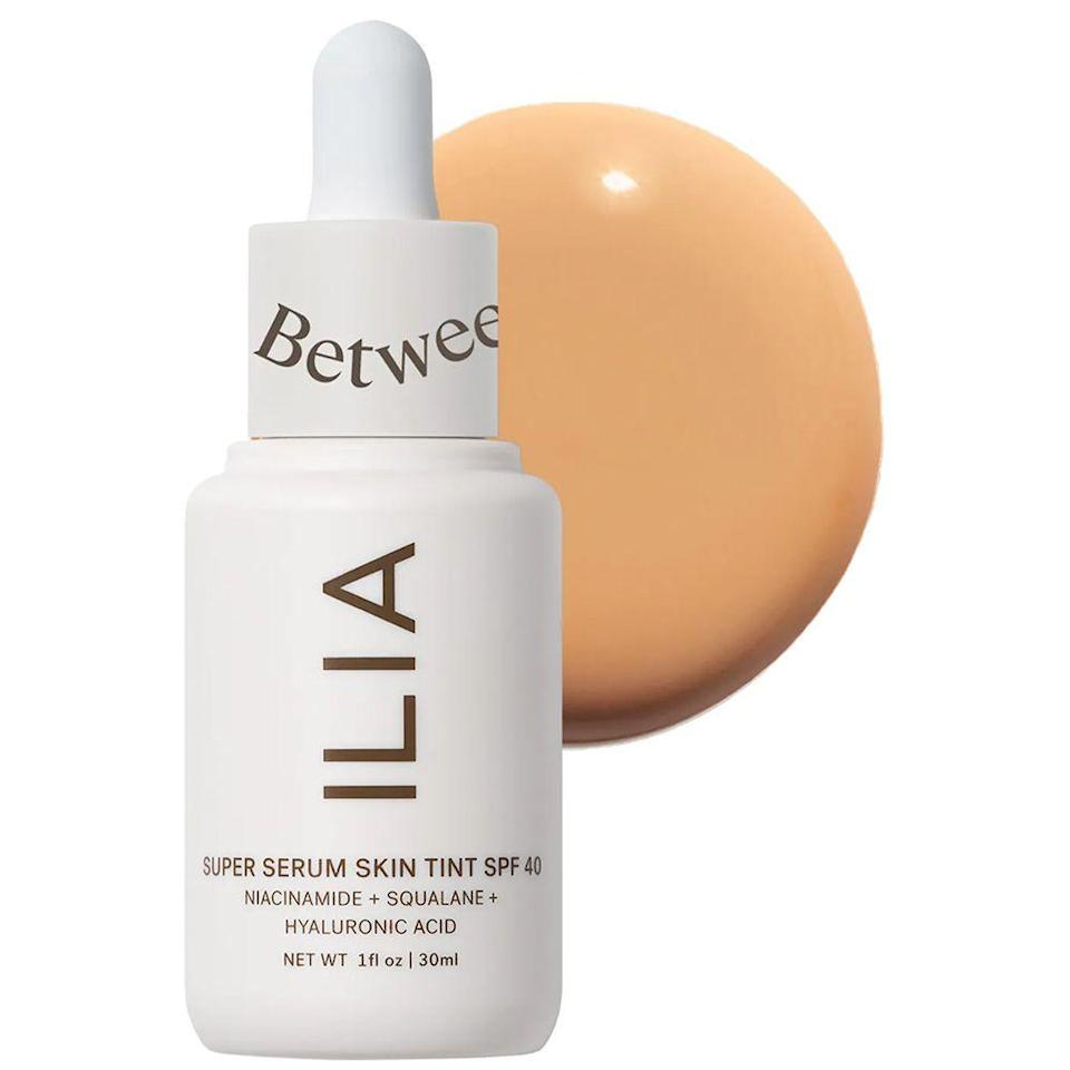 """<p><strong>ILIA</strong></p><p>sephora.com</p><p><strong>$48.00</strong></p><p><a href=""""https://go.redirectingat.com?id=74968X1596630&url=https%3A%2F%2Fwww.sephora.com%2Fproduct%2Filia-super-serum-skin-tint-spf-40-P455418&sref=https%3A%2F%2Fwww.bestproducts.com%2Fbeauty%2Fg37048952%2Fdewy-foundations%2F"""" rel=""""nofollow noopener"""" target=""""_blank"""" data-ylk=""""slk:Shop Now"""" class=""""link rapid-noclick-resp"""">Shop Now</a></p><p>Is it a serum or a skin tint? It's actually both! </p><p>This foundation has become a fan-favorite for its lightweight, comforting feel on skin. This SPF 40-infused formula slips onto your complexion and blends with ease, creating the perfect canvas for the rest of your complexion products. It also makes your skin look <em>and</em> feel good, thanks to its additions of squalane, niacinamide, and hyaluronic acid. </p><p>The best part? It comes in 30 """"flexible"""" shades to choose from, so you'll find your perfect match in mere seconds.</p>"""