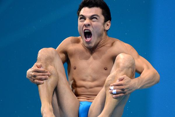Mexico's Yahel Castillo Huerta in action during the Men's 3m Springboard Semi  Final Round at the Aquatic Centre
