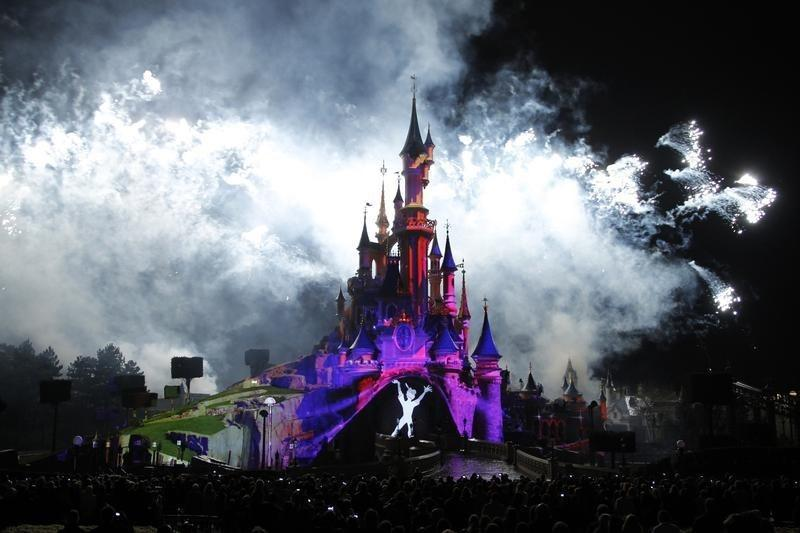 The crowd watches the premiere of the new Disney Dreams show at the Disneyland Resort in Marne-la-Vallee