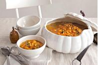 """<p>Kick off the meal with a starter of pumpkin soup or chowder. Sautéed leeks, garlic, and bell peppers mingle in this satisfyingly chunky pumpkin chowder.</p><p><strong><a href=""""https://www.countryliving.com/food-drinks/recipes/a2990/pumpkin-chowder-recipe/"""" rel=""""nofollow noopener"""" target=""""_blank"""" data-ylk=""""slk:Get the recipe"""" class=""""link rapid-noclick-resp"""">Get the recipe</a>.</strong></p><p><strong>RELATED: <a href=""""https://www.countryliving.com/food-drinks/g981/pumpkin-soup-recipes/"""" rel=""""nofollow noopener"""" target=""""_blank"""" data-ylk=""""slk:Pumpkin & Squash Soup Recipes"""" class=""""link rapid-noclick-resp"""">Pumpkin & Squash Soup Recipes</a></strong></p>"""