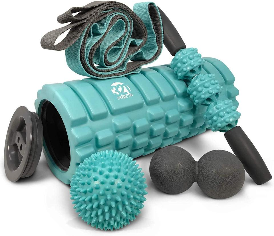 """<p>We love that this <a href=""""https://www.popsugar.com/buy/321-Strong-Foam-Roller-434260?p_name=321%20Strong%20Foam%20Roller&retailer=amazon.com&pid=434260&price=40&evar1=fit%3Aus&evar9=46418649&evar98=https%3A%2F%2Fwww.popsugar.com%2Fphoto-gallery%2F46418649%2Fimage%2F46418690%2F321-Strong-Foam-Roller&list1=shopping%2Cfitness%20gear%2Chome%20workouts%2Cfitness%20shopping&prop13=api&pdata=1"""" class=""""link rapid-noclick-resp"""" rel=""""nofollow noopener"""" target=""""_blank"""" data-ylk=""""slk:321 Strong Foam Roller"""">321 Strong Foam Roller</a> ($40) set also features storage space inside, perfect for exercise bands and other small equipment.</p>"""