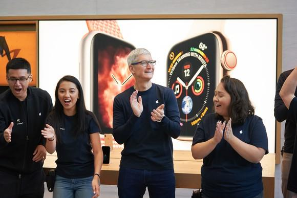 Tim Cook at an Apple Store during launch