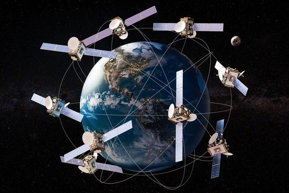 A depiction of nine satellites that circulate around the world.