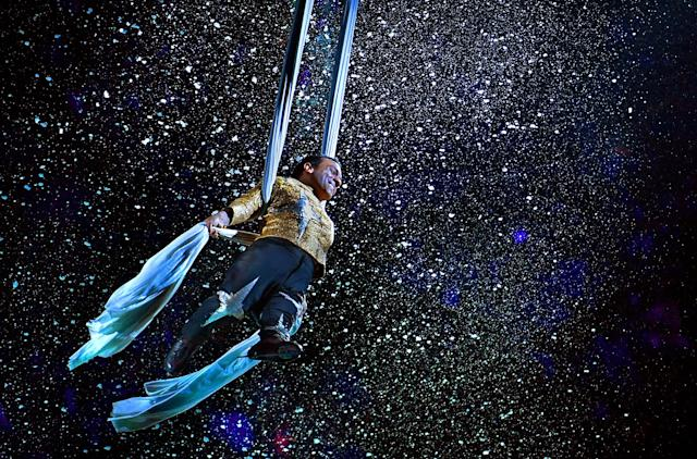 <p>Aerialist Paulo dos Santos seems to be flying in space during his act. -After a 146 year run, the Ringling Bros. and Barnum & Bailey Circus will end with an evening performance at the Nassau Veterans Memorial Coliseum on Sunday, May 21st. (Michael S. Williamson/The Washington Post via Getty Images) </p>