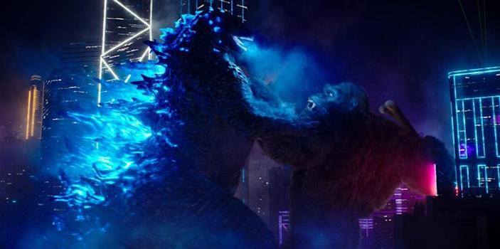 """(L-r) GODZILLA battles KONG in Warner Bros. Pictures' and Legendary Pictures' action adventure """"GODZILLA VS. KONG,"""" a Warner Bros. Pictures and Legendary Pictures release. Credit: Warner Bros. Pictures and Legendary Pictures"""