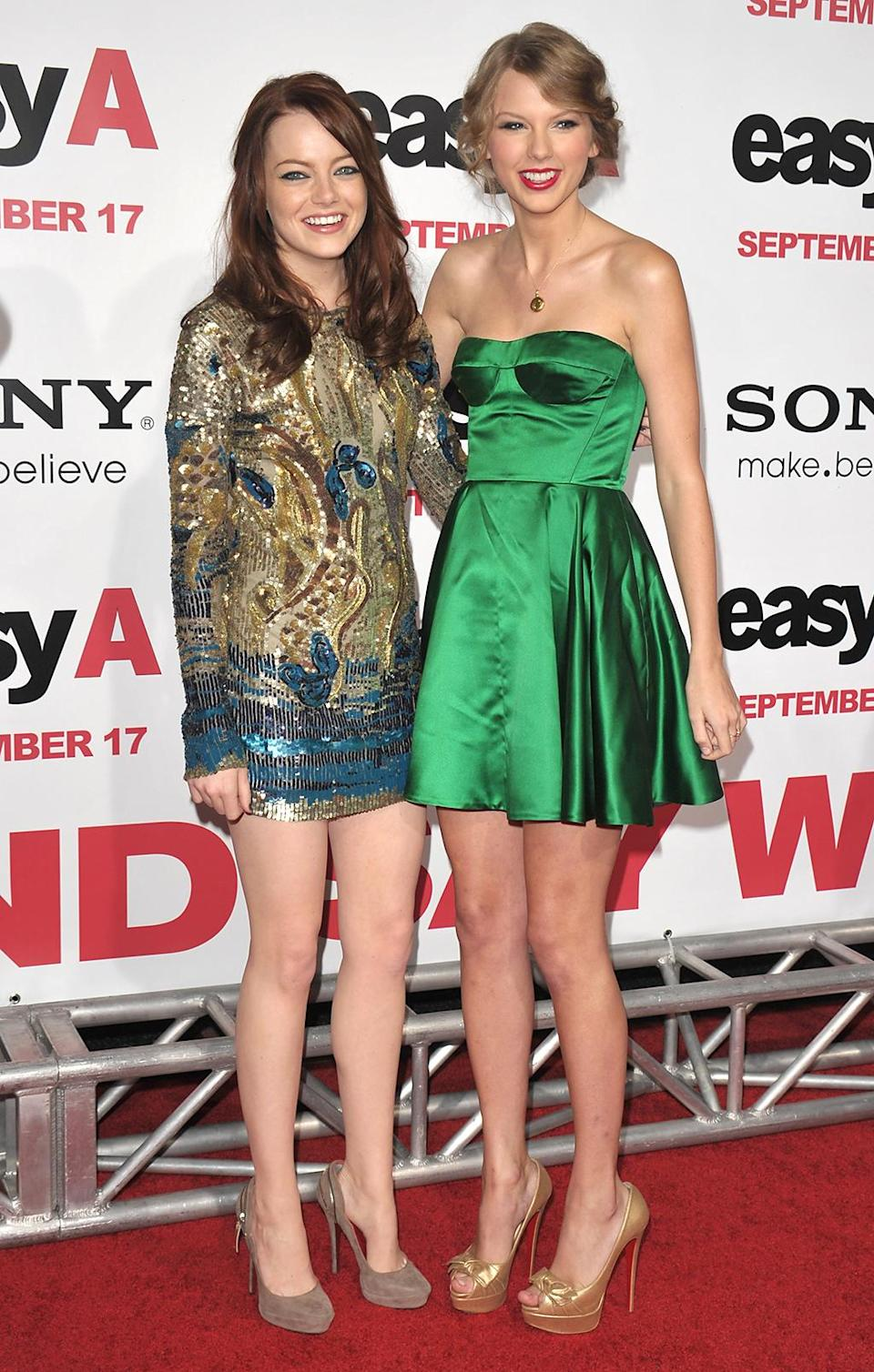 <p>Stone proves she can carry a film with a star turn in 2010's hit <em>Easy A.</em> She brings pal Taylor Swift to the Los Angeles premiere on Sept. 13, 2010. (Photo: John Shearer/WireImage) </p>