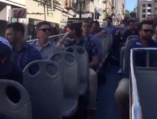 The San Diego Padres rode a double-decker bus through San Francisco Sunday morning. (San Diego Padres)