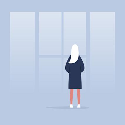 Contemplate. Meditate. Harmony. Young female character looking through the window. Back view. Conceptual illustration, clip art