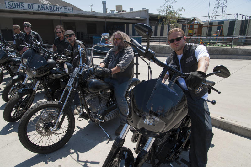 """This undated image released by FX shows, from left, David Labrava as Happy, Ron Perlman as Clarence 'Clay' Morrow, Kim Coates as Alex 'Tig' Trager, Tommy Flanagan as Filip 'Chibs' Telford, Mark Boone Junior as Robert 'Bobby' Munson, Charlie Hunnam as Jackson 'Jax' Teller from the FX series, """"Sons of Anarchy."""" (AP Photo/FX, Prashant Gupta)"""