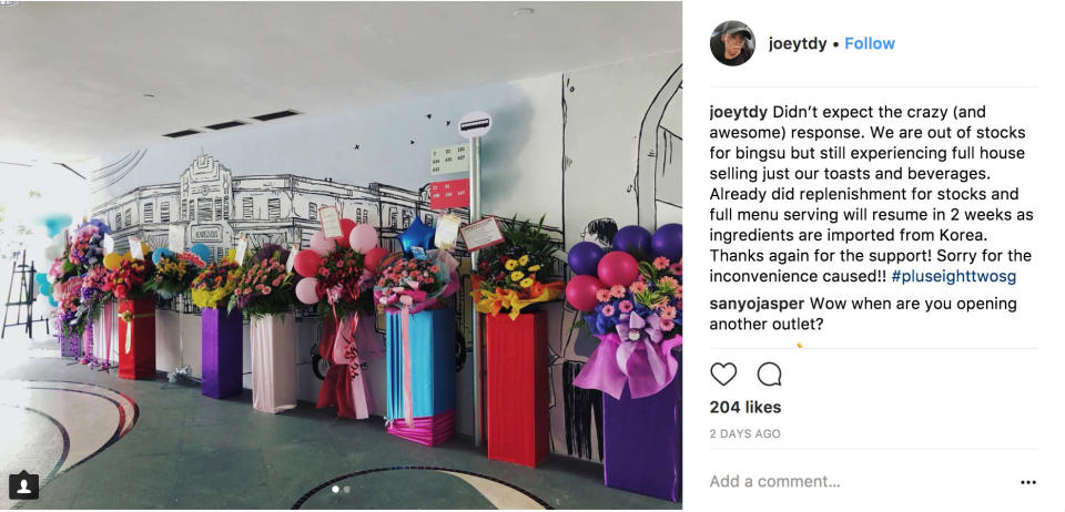 One of the cafe's business partners made an announcement about the lack of stock on his Instagram. (Photo: @joeytdy/instagram)