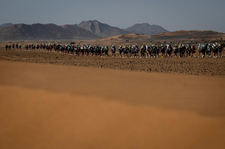 In the long run: the surviving runners set off on 86.2km fourth stage of the Marathon des Sables between Jebel El Mraier and Boulchrhal (AFP/JEAN-PHILIPPE KSIAZEK)