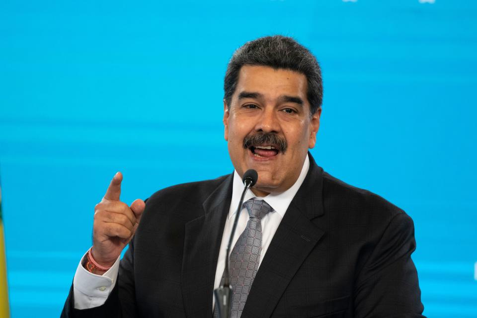 Venezuelan President Nicolas Maduro gestures while speaking during a press conference at the Miraflores presidential palace in Caracas on February 17, 2021.