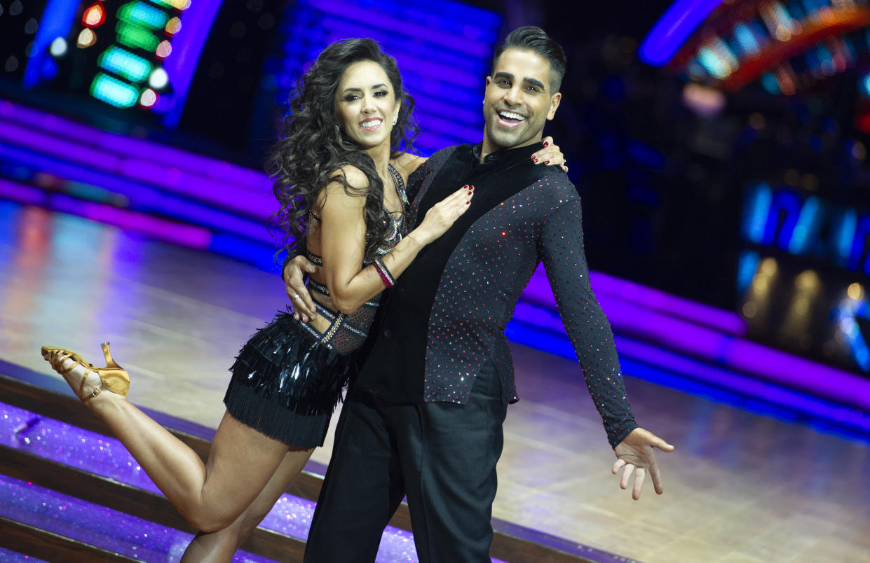 BIRMINGHAM, ENGLAND - JANUARY 17:  Dr Ranj Singh and Janette Manrara attend the photocall for the 'Strictly Come Dancing' live tour at Arena Birmingham on January 17, 2019 in Birmingham, England.  (Photo by Katja Ogrin/Getty Images)