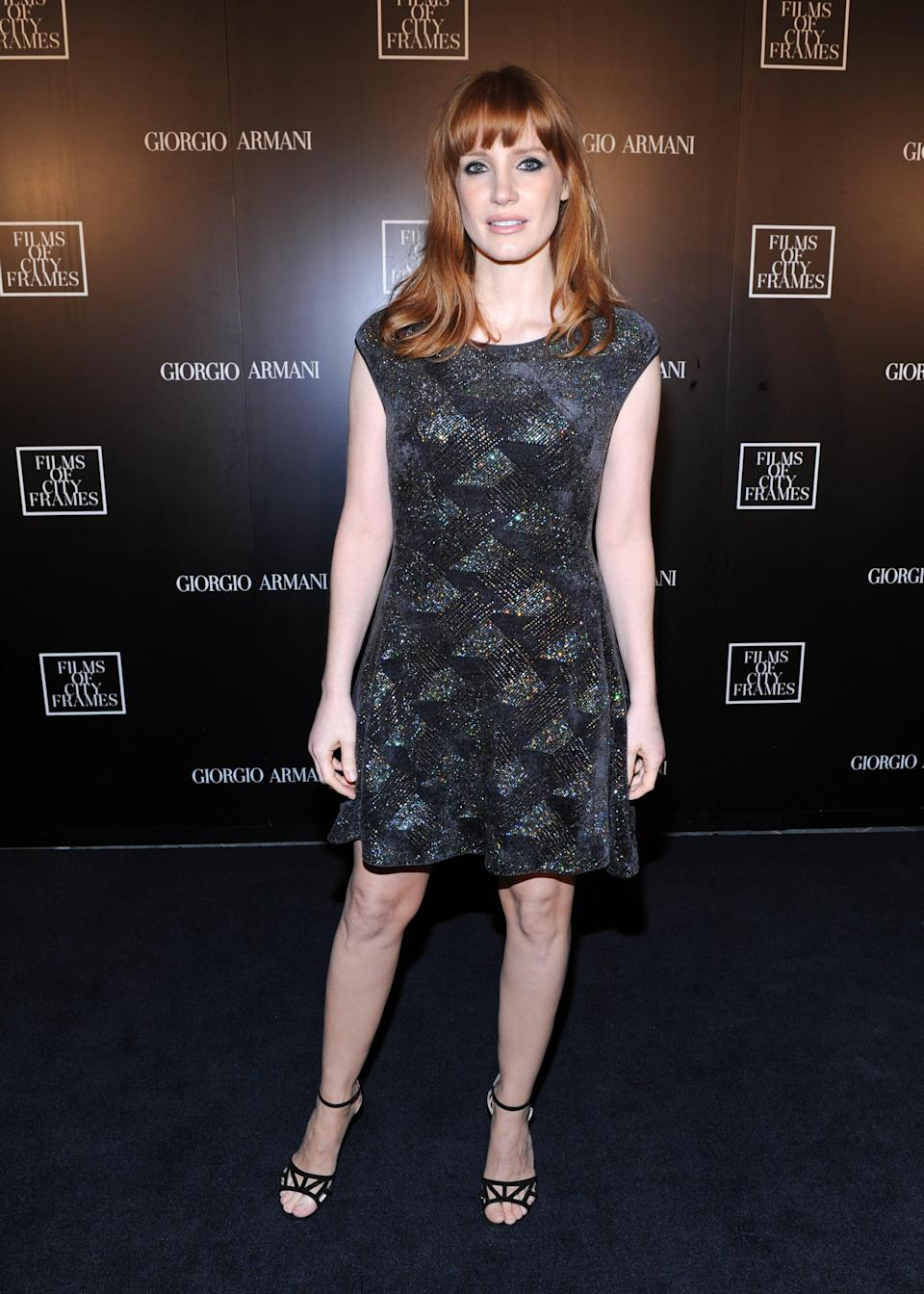 <p>Chastain had thick, blunt bangs in 2014.</p>