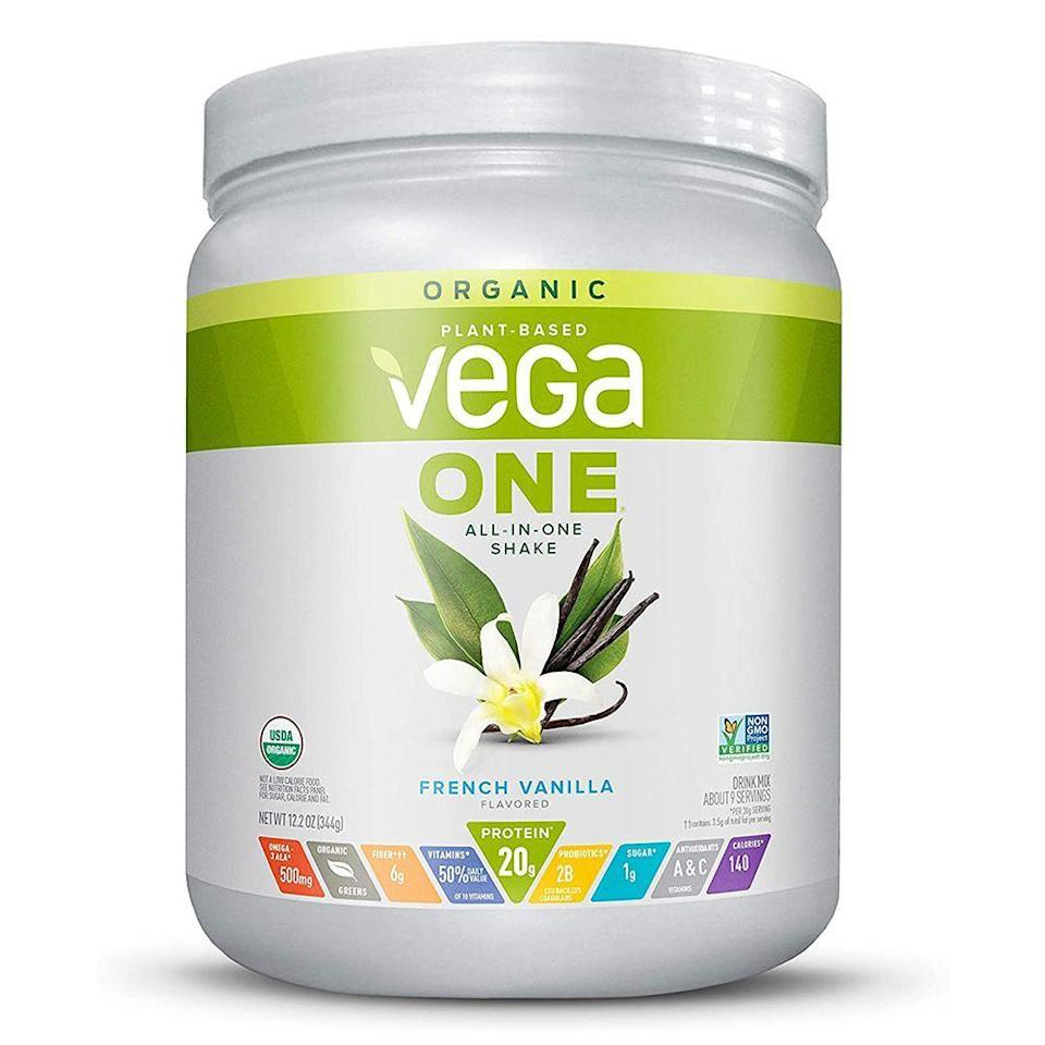 "<p><strong>Vega One</strong></p><p>amazon.com</p><p><strong>$27.93</strong></p><p><a href=""https://www.amazon.com/dp/B079J9J5DC?tag=syn-yahoo-20&ascsubtag=%5Bartid%7C2141.g.27044014%5Bsrc%7Cyahoo-us"" rel=""nofollow noopener"" target=""_blank"" data-ylk=""slk:Shop Now"" class=""link rapid-noclick-resp"">Shop Now</a></p><p>Vega One's vegan protein powders have more than 6,500 positive reviews on Amazon, and there's a good reason for it. It provides 20 grams of protein and six grams of fiber. Plus, it's packed with probiotics, spirulina, and <a href=""https://www.prevention.com/food-nutrition/a23397426/maca-powder-benefits/"" rel=""nofollow noopener"" target=""_blank"" data-ylk=""slk:maca"" class=""link rapid-noclick-resp"">maca</a> for a boost of health-promoting nutrients. It comes in berry, chocolate, coconut almond, mocha, vanilla chai, and chocolate mint flavors. There's also a plain, unsweetened variety as well. </p><p><strong>Nutrition info (per 1-scoop serving): </strong>140 calories, 3.5 g fat (1 g saturated fat), 10 g carbs (6 g fiber, 1 g sugar), 20 g protein, 210 mg sodium </p>"