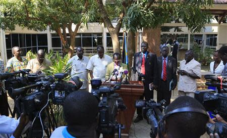 South Sudan Vice President James Igga announces to the media the recapture of Malakal town by government forces from the rebels, in the capital Juba